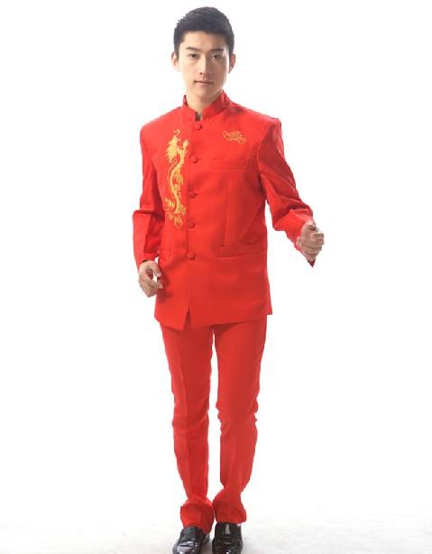 红色绣龙中山装礼服租赁_中国红主持人礼服演出服装