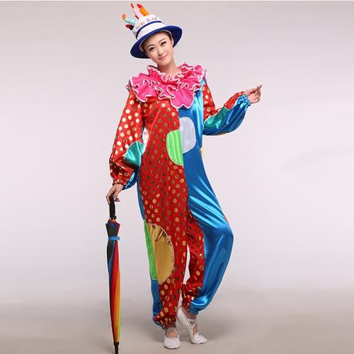 成人小丑演出服装_生日派对小丑服_魔术表演化妆舞会装扮服