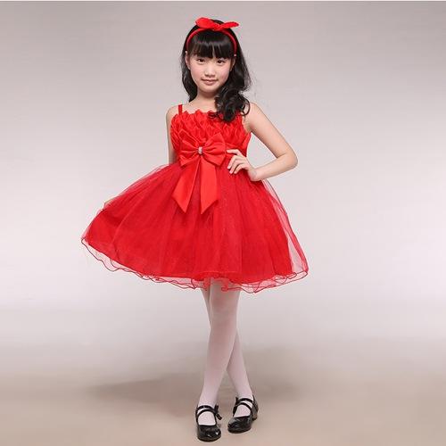 儿童蝴蝶结吊带裙_女童吊带连衣裙_儿童公主裙表演服装