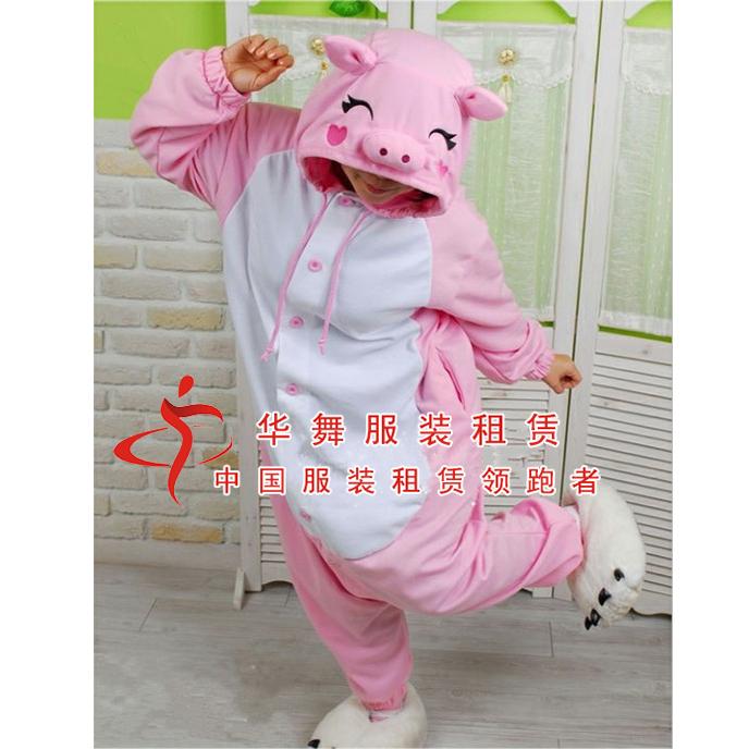 粉色猪卡通行走服出租